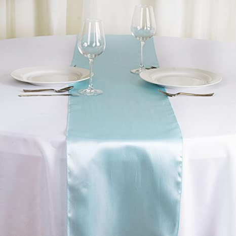 Wedding Event Party Decor Pale Blue Satin Table Runners Chair Sashes Pack 10