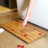 GoBam Wooden Bath Mat Bamboo Bath Floor And Shower Mat Eco Friendly Skid  Resistant Bathroom Step