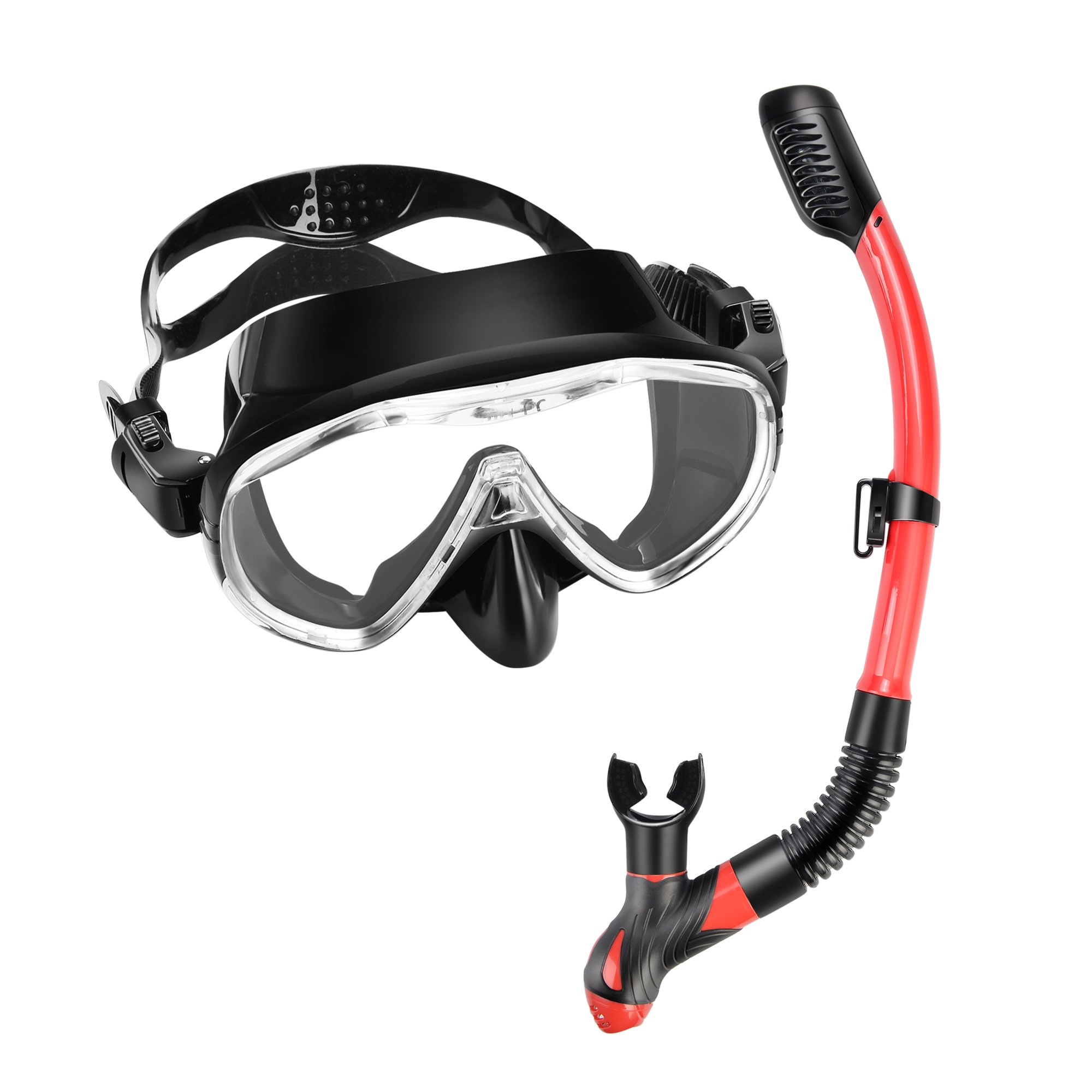 Scuba Diving Mask Snorkel Set – Tempered Glass One Window Lens Panoramic view Anti-Fog, Anti-Splash Protection Diving Mask & Purg Valve Dry Top Snorkel for Adults, Freediving, Swimming, Snorkeling