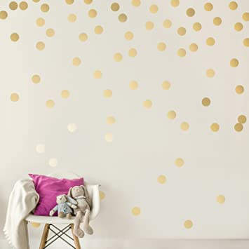 Easy Peel Stick Gold Wall Decal Dots 2 Inch 200 Decals Safe On Walls Paint Metallic Vinyl Polka Dot Decor Round Circle Art Glitter
