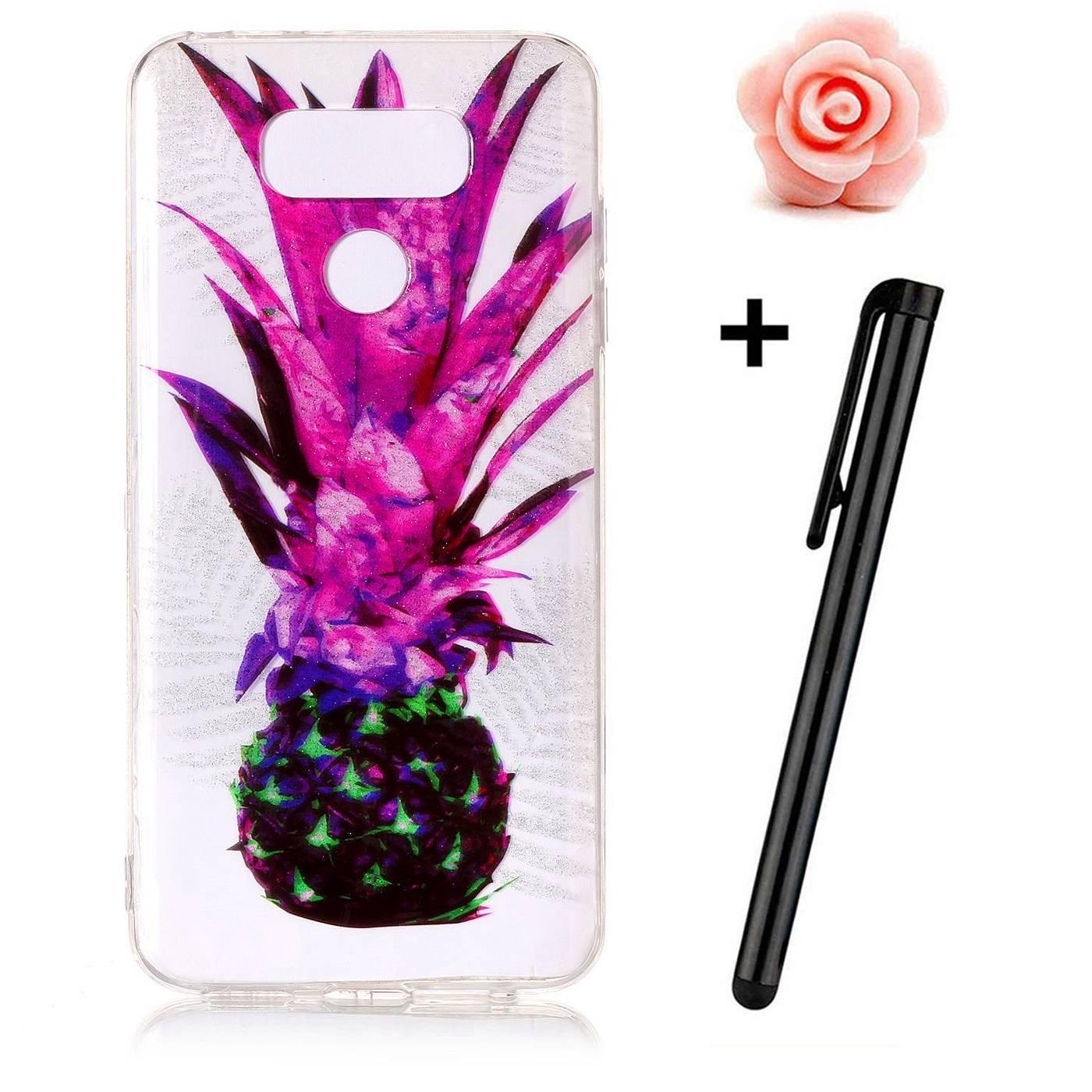 LG G6 Hü lle, LG G6 Silikon Case, LG G6 Glitzer Schutzhü lle, TOYYM Ultra Dü nn Soft Flexibel Durchsichtig TPU Gel Luxus Handy Tasche Cover mit Kreativ Bling Bunte Blume Muster Design, Kristall Transparent Bumper Mä dchen Schutz Hü
