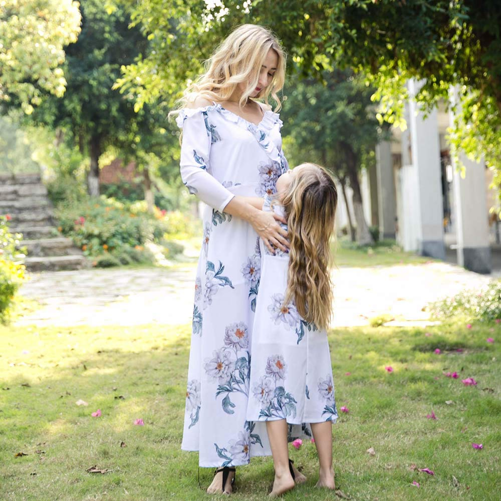 Mommy Daughter Matching Floral Print Maxi Long Dresses Family Matching Off Shoulder Ruffles Swing Sundress