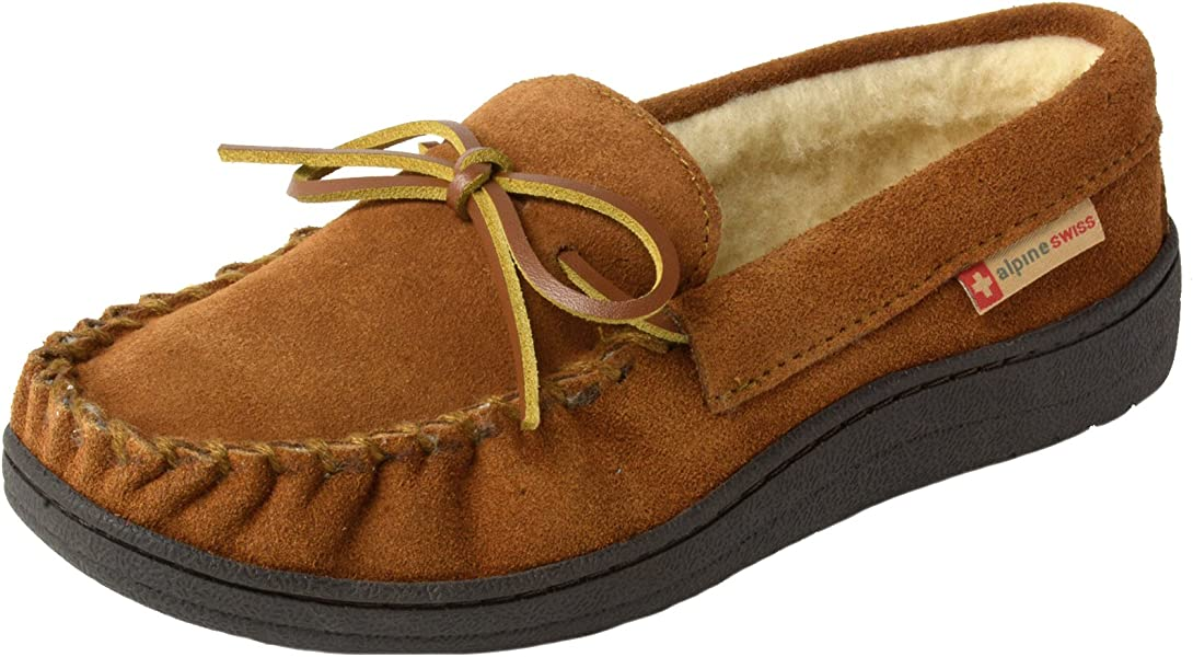 86ac110187c alpine swiss Sabine Womens Suede Shearling Slip On Moccasin Slippers  Chestnut 9 M US