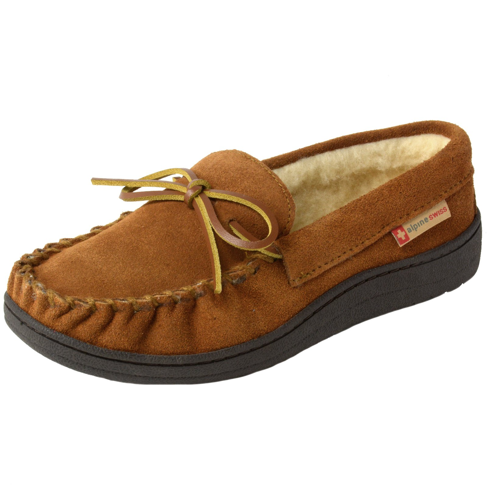 alpine swiss Sabine Womens Suede Shearling Slip On Moccasin Slippers Chestnut 8 M US