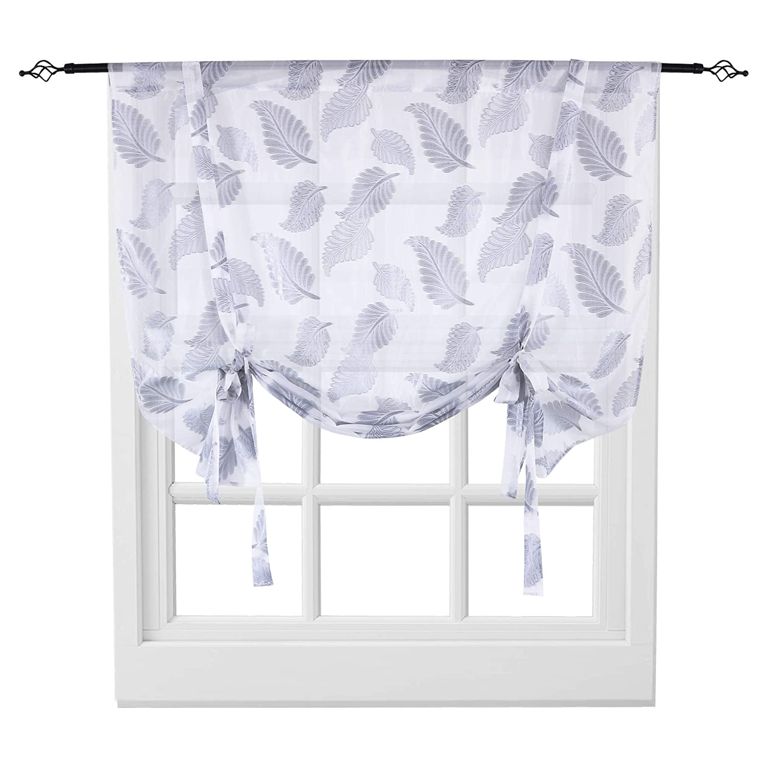 KEQIAOSUOCAI Sheer Tie Up Curtains Leaves Jacquard Rod Pocket Short Balloon  Shades for Window Kitchen Sheer Valance 1 Panel Curtain 52 by 63 Inches ...