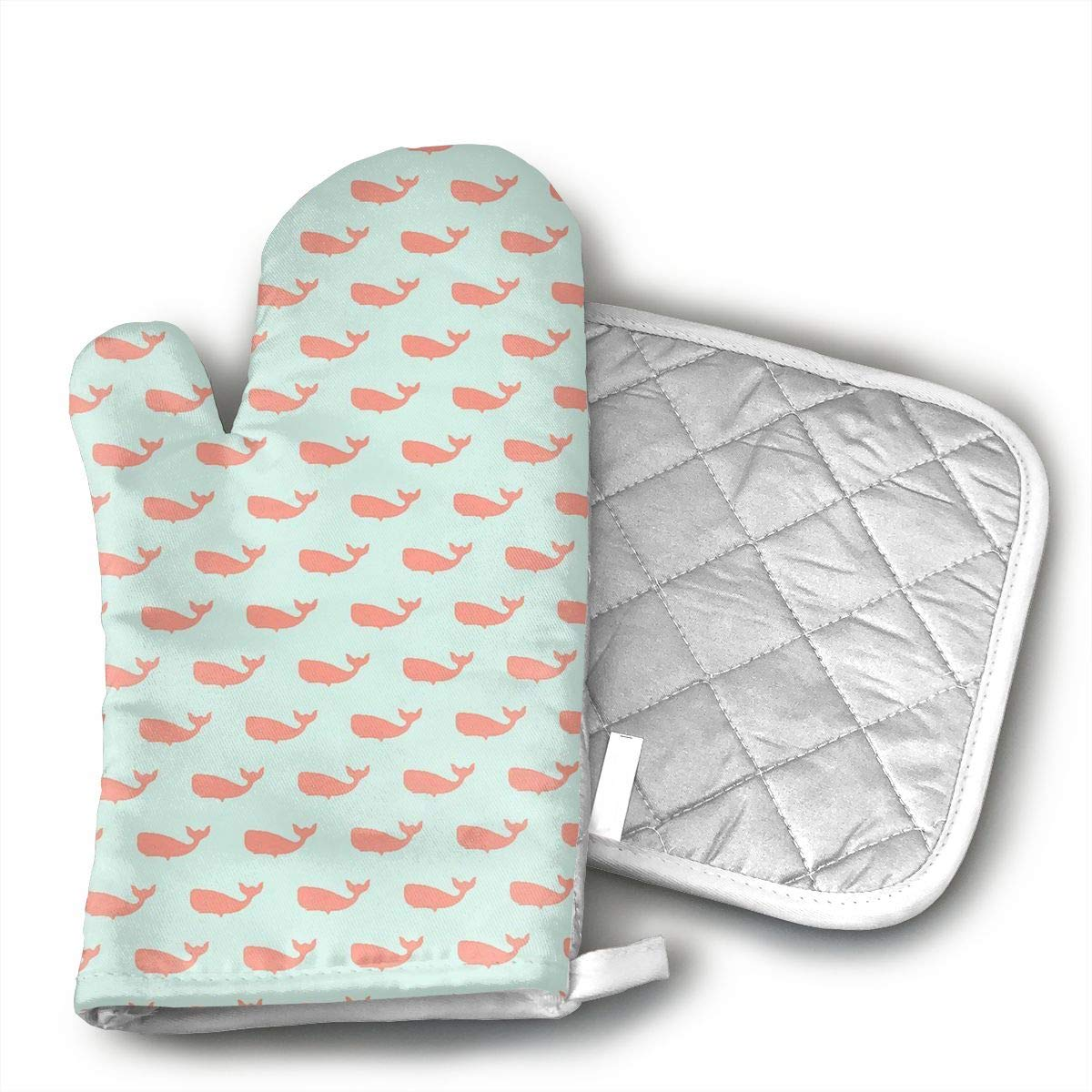 Preppy Whale Spa Heat Resistant Kitchen Oven Mitt with Non-Slip Printed, Set of 2 Oven Gloves for BBQ Cooking Baking, Grilling, Barbecue,Microwave, Machine Washable.