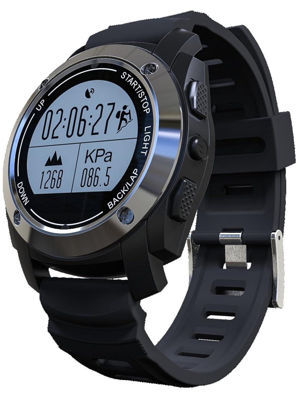GPSスマート腕時計高度計バロメーターハートレートモニターFitness Trackerスポーツウォッチブラック B079HPWD3J