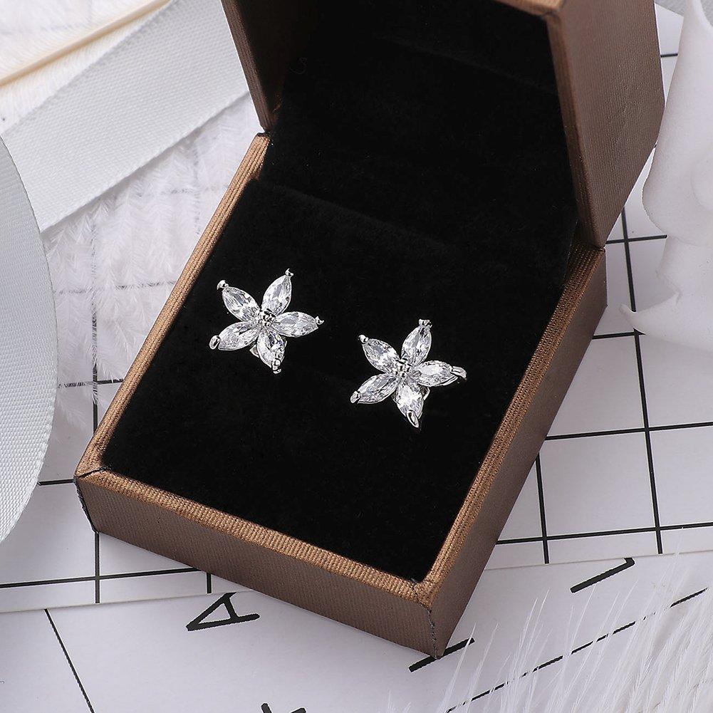 925 Sterling Silver Flower Crystal Gemstone Dangle Leverback Earrings