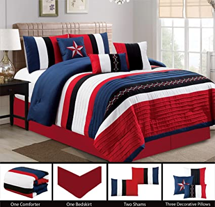 . Modern 7 Piece Bedding NAVY BLUE  BLACK  WHITE  RED Pin Tuck   Texas Lone  Star Embroidered QUEEN Comforter Set with accent pillows