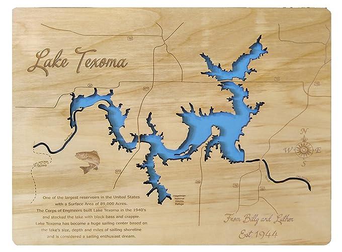 Amazon.com: Lake Texoma, Texas and Oklahoma: Standout Wood ...