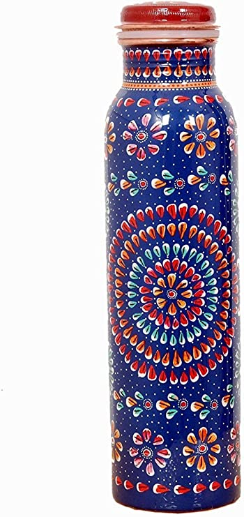 Bottle Set Model 5 Stunning 100/% Pure Printed Copper Water Bottle for Ayurveda Health Benefits 950 ML Joint Free /& Leak Proof Pattern May Vary Little .