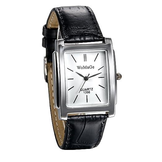 JewelryWe Relojes Hombre, Correa De Cuero Cuarzo Rectangular, Unisex Reloj Vintage, Estilo Clásico