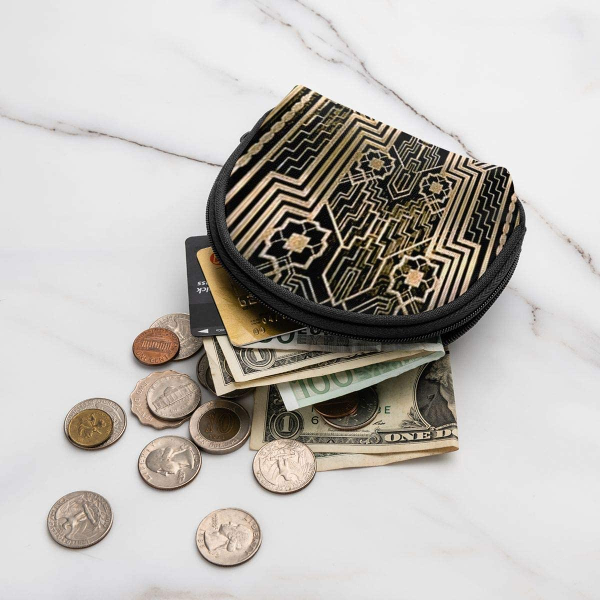 Sac /à cl/é 11,9 x 8,9 cm Mini porte-monnaie en tissu Oxford avec fermeture /éclair pour cartes de cr/édit et porte-monnaie