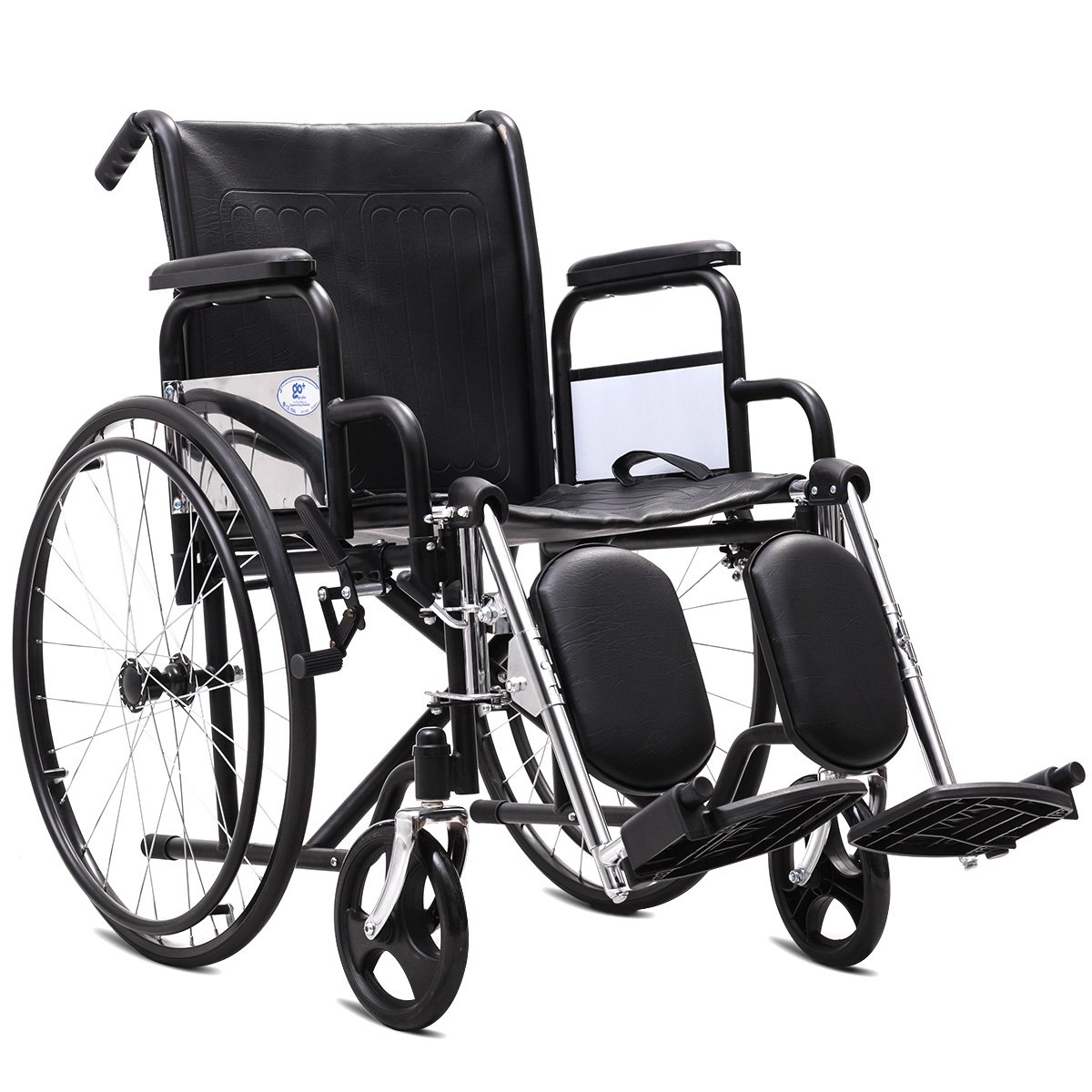 Giantex Manual Folding Medical Transport Wheelchair w/ Footrest Handbrakes Lightweight Wheelchairs (Elevating Leg Rests)