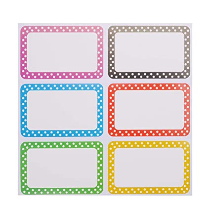 100 self-adhesive PRIMARY COLORS Name Tag Stickers BIRTHDAY