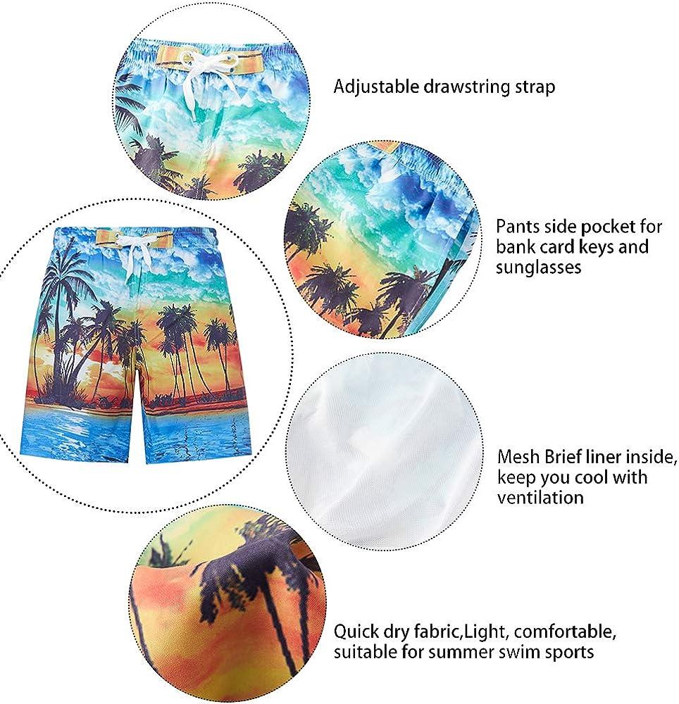 RAISEVERN Ragazzi Swim Trunks Pantaloncini da Surf Divertenti Stampati in 3D Swim Boardshorts 6-14T Teens