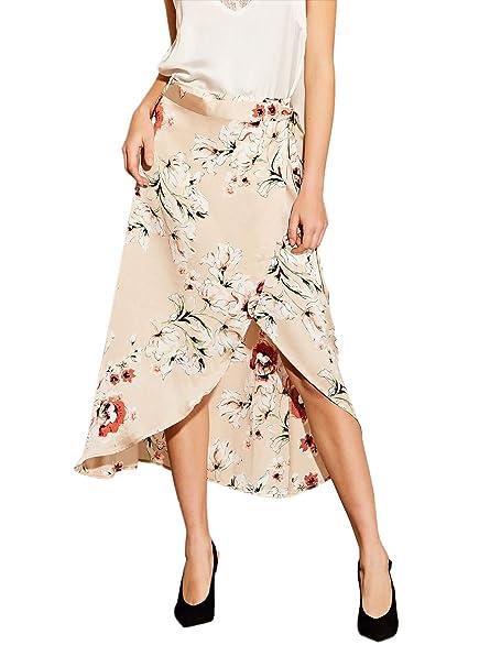f95351418 WDIRARA Women's High Waist Asymmetrical Floral Print Summer Wrap Midi Skirt  Apricot XS