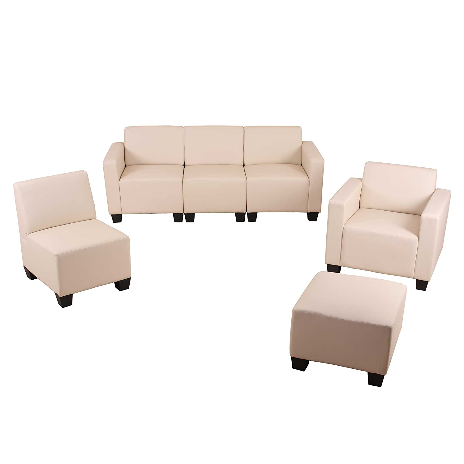 modular sofa system couch garnitur lyon 3 1 1 1 kunstleder creme g nstig bestellen. Black Bedroom Furniture Sets. Home Design Ideas