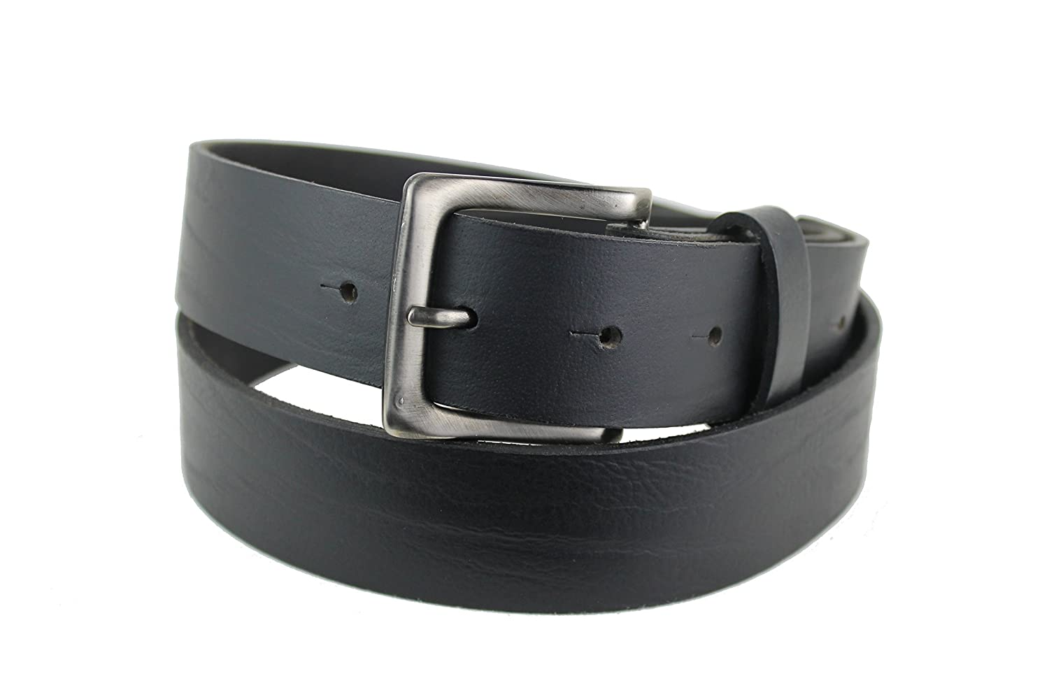 Mens Leather belt with Square Dark Silver Buckle 1101
