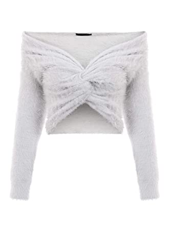 7584a537582 Simplee Women's Sexy Off Shoulder CRIS Cross Crop Top V Neck Long Sleeve  Pullover Sweater Grey