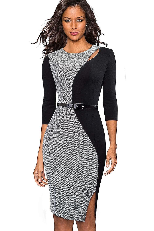MisShow Damen Kleider Business Bleistiftkleid Etuikleid Knielang Retro Etui Abendkleid
