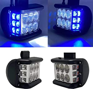 LED Side Shooter Light Bars DIBMS 2x White LED Spot Pods Light with Blue Strobe Warning Flashing Emergency Light Off Road Driving Light Compatible with Jeep Car Trucks SUV ATV 4X4