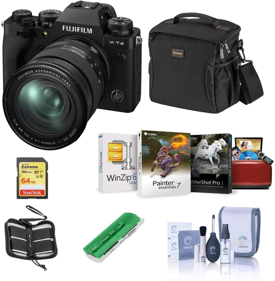 Fujifilm X-T4 Mirrorless Digital Camera with XF 16-80mm f/4R OIS WR Lens, Black - Bundle with Shoulder Bag, 32GB SDXC Card, Cleaning Kit, Card Reader, Memory Wallet, Mac Software Package