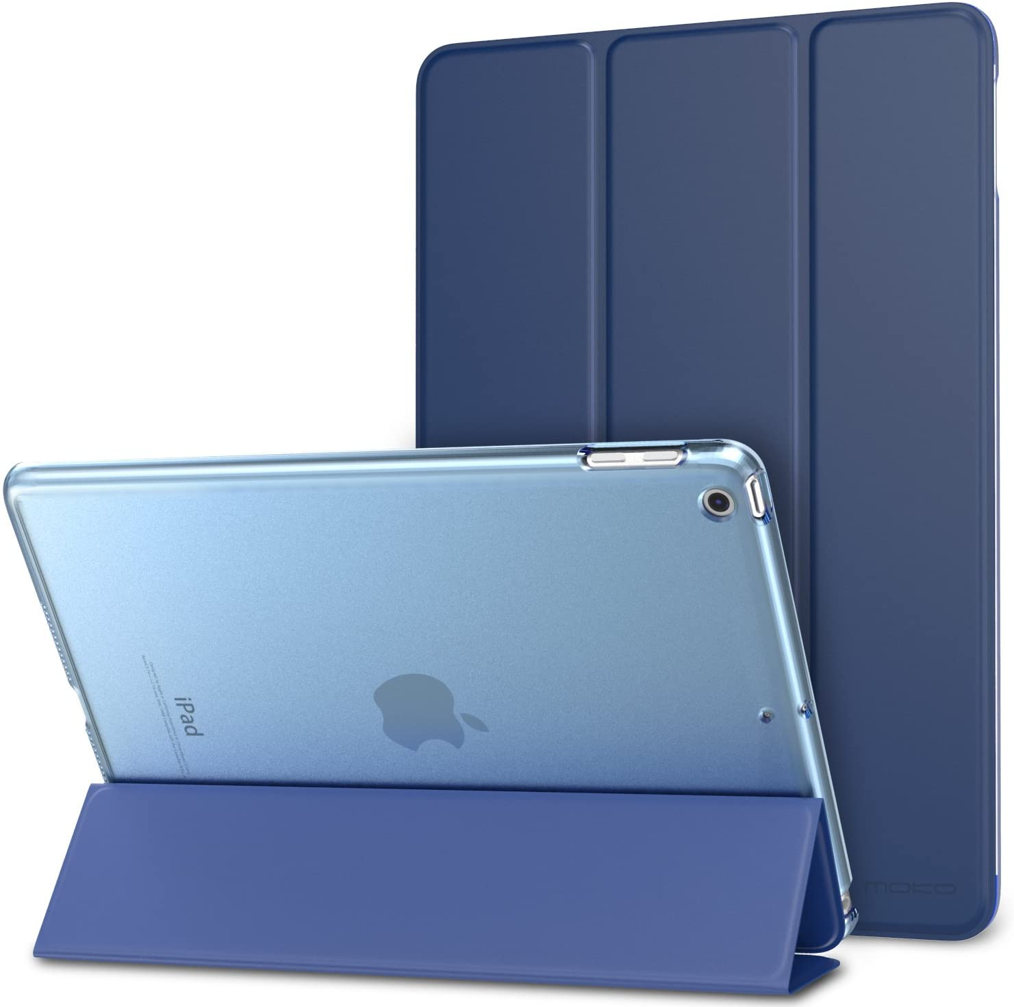 MoKo Case Fit 2018/2017 iPad 9.7 6th/5th Generation - Slim Lightweight Smart Shell Stand Cover with Translucent Frosted Back Protector Fit iPad 9.7 Inch 2018/2017, Navy Blue(Auto Wake/Sleep)