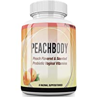 Natural Vegan Peach Flavored Probiotic Vaginal Suppositories - Supports Yeast Infection, UTI, BV & Candida prevention - PH Balance - EXPERT SCIENCE EXTRA STRENGTH - PEACHBODY