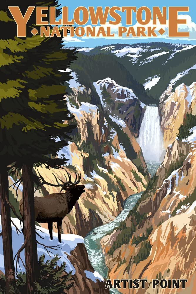 Yellowstone National Park, Wyoming - Artist Point and Elk (12x18 Art Print, Wall Decor Travel Poster)