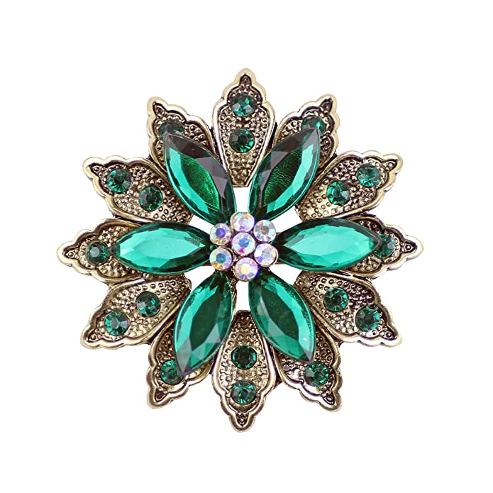 Vintage Style Jewelry, Retro Jewelry Ailer Green Vintage Created Crystal Brooches for Women Broomly Flower Brooch Pin-26G $11.98 AT vintagedancer.com