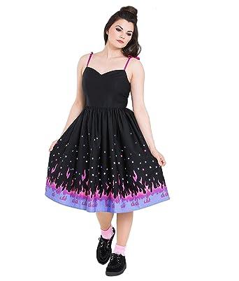 011d5481b8 Hell Bunny Pinball Rockabilly 50s Style Border Dress  Amazon.co.uk  Clothing