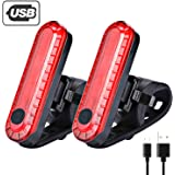 LED Bike Tail Light, USB Rechargeable Bright Bicycle Rear Cycling Safety Flashlight, 330mah Lithium Battery, 4 Light Mode Options, Water Resistant IPX4(2 USB Cables Included), 2 Pack