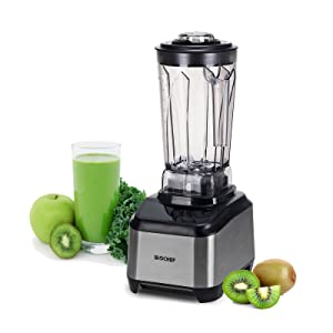 BioChef Atlas Power Blender 1000W High Performance Commercial Blender - Premimum Brushless Motor, 10 Year Warranty, Super Quiet Operation (75dB), 16 Speeds & Pulse Function, 64 oz Jug (Black)