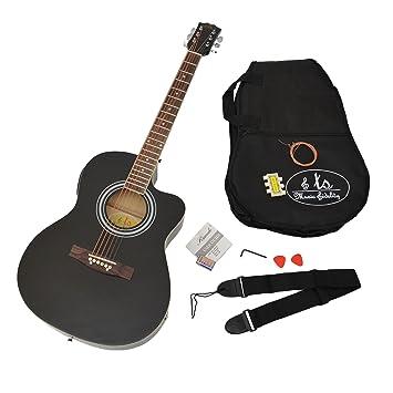 ts-ideen Western - Guitarra acústica completa con accesorios, calidad estándar, tamaño regular (4/4), color negro: Amazon.es: Instrumentos musicales