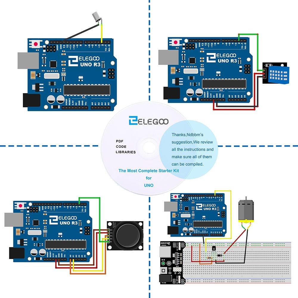 elegoo uno r3 Project Kit Starter la más Completa w/Tutorial, uno r3 Controlador Junta, LCD1602, servo, Motor Paso a Paso para Arduino UNO Proyecto: ...
