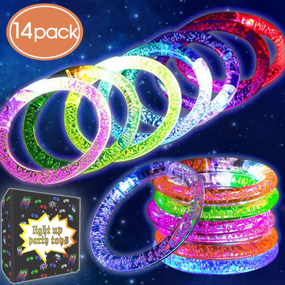 14 Pack LED Bracelets Glow in the Dark Party Supplies Fluorescence Stick LED Light Up Toy Flashing Bracelet Replacement Batteries Premium Acrylic Bangle for Glow Halloween Party Favor Wedding Birthday Synmila