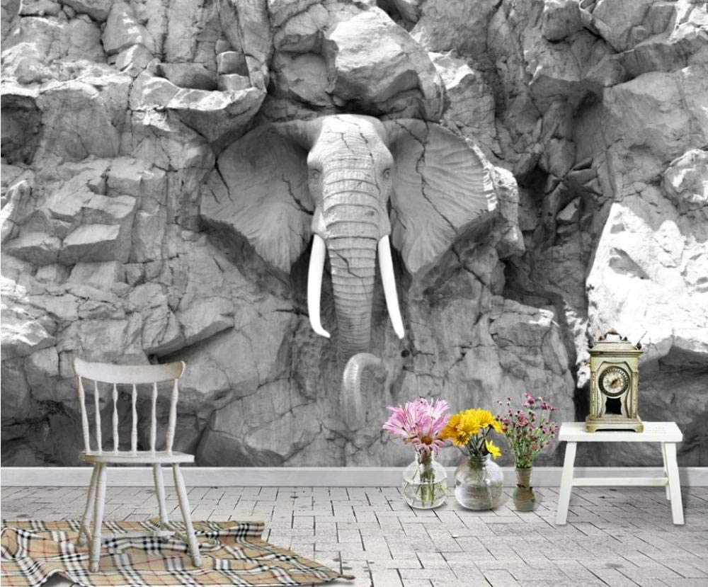 Wallpaper 3D Effect Foto Mural Abstract Stone Elephant