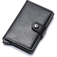 Munixi Credit Card Holder Leather Slim Wallet RFID Blocking Pop Up Aluminum Card Case High Capacity Credit Cards Wallet (Black (Single Box))