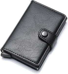 Munixi Credit Card Holder Leather Slim Wallet RFID Blocking Pop Up Aluminum Card Case High Capacity Credit Cards Wallet (Black (Single Box))