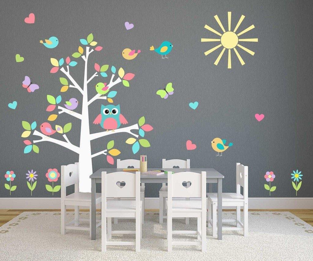 couleur pastel complet motif chouette arbre sticker mural nursery decdal papillons coeurs. Black Bedroom Furniture Sets. Home Design Ideas