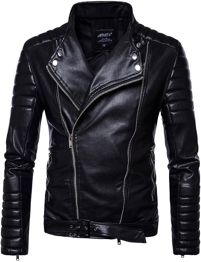 Missmao Lederbikerjacke Mit Revers Aus Reißverschluss Und Gürtel Warm Und Winddicht Bekleidung