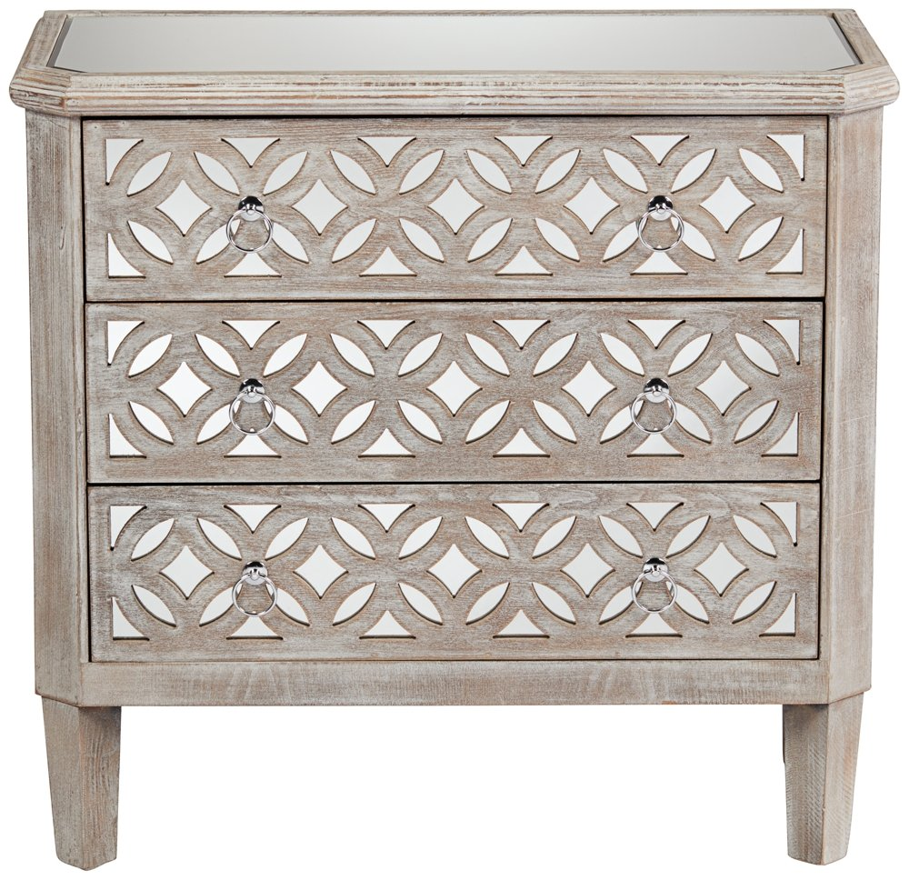 55 Downing Street Charly Natural Whitewash 3-Drawer Lattice Accent Chest