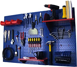 product image for Pegboard Organizer Wall Control 4 ft. Metal Pegboard Standard Tool Storage Kit with Blue Toolboard and Red Accessories