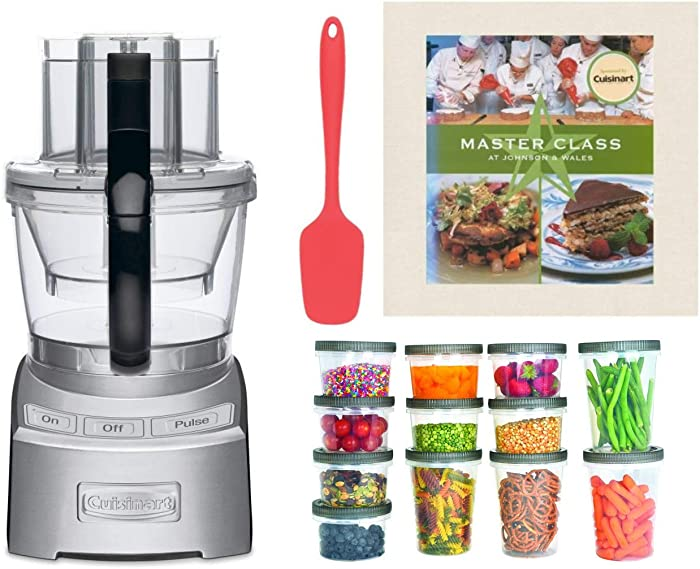 Cuisinart FP12DC Elite 2.0 12-cup Food Processor with Spoon Spatula, Cookbook, and Plastic Storage Containers Bundle (4 Items)