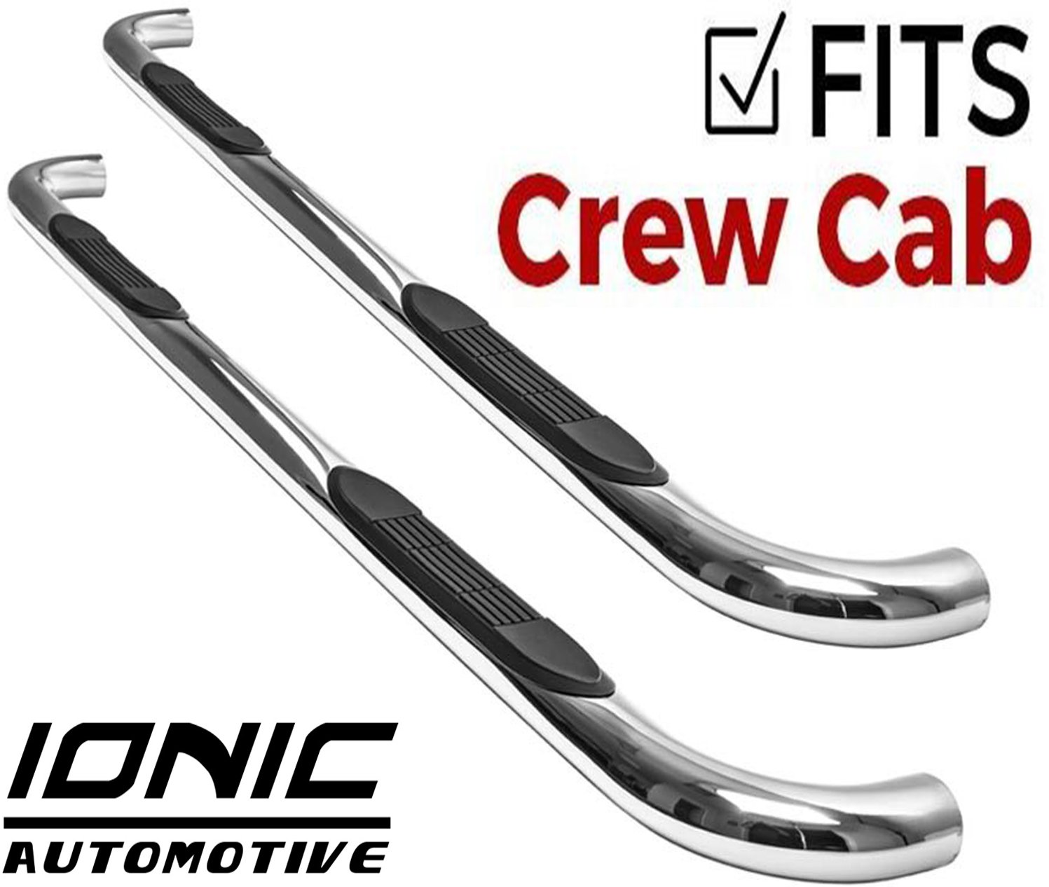 Ionic 3'' (fits) 1999-2018 Chevy Silverado GMC Sierra Only Nerf Bars Side Steps (Crew Cab Rocker Mount, Stainless) by Ionic Automotive (Image #1)