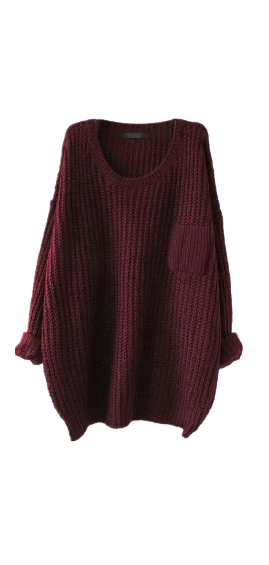 Womens Casual Unbalanced Crew Neck Knit Sweater Loose Pullover