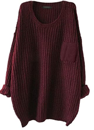 18c1f43982 Alinfu Women s Casual Unbalanced Crew Neck Knit Sweater Loose Pullover  Cardigan (Burgundy)