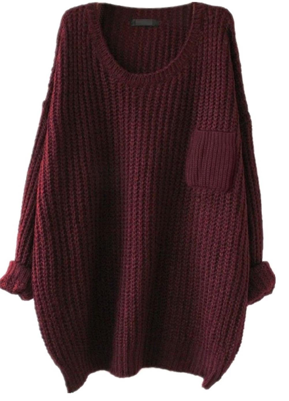Women's Casual Unbalanced Crew Neck Knit Sweater Loose Pullover Cardigan (Burgundy)