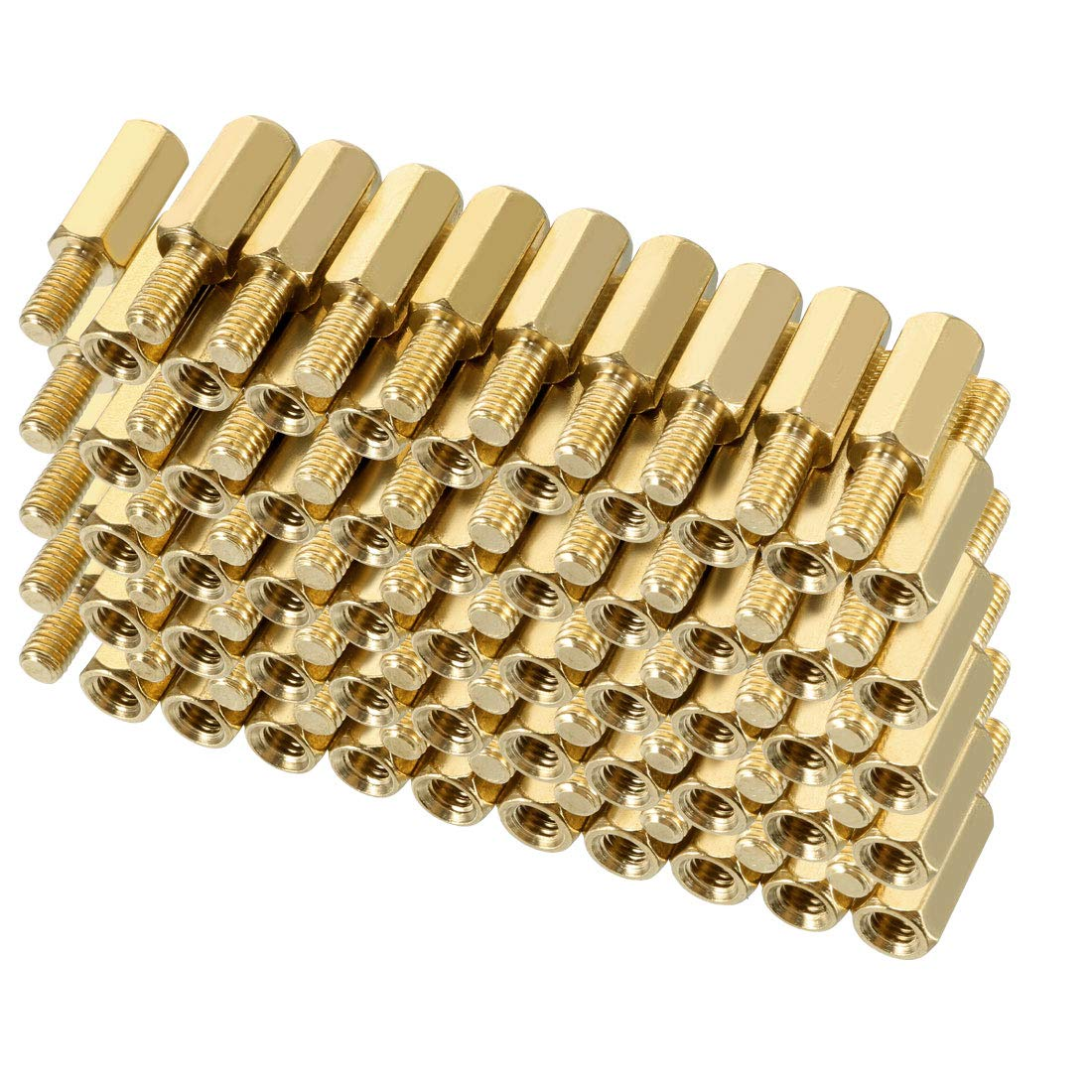 uxcell 20pcs M3 20+6mm Female Male Thread Brass Hex Standoff Spacer Screws PCB Pillar a18072700ux0355